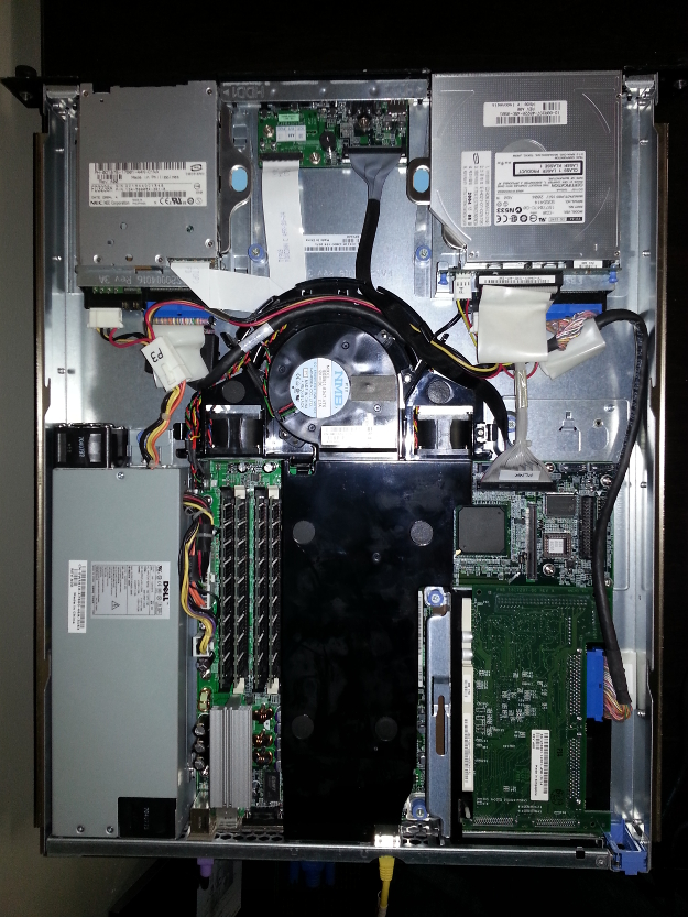 The innards of the Dell PowerEdge 750 Server