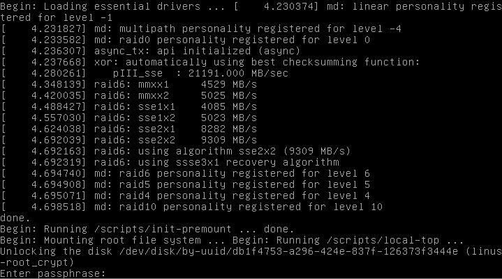 Enter passphrase to decrypt root filesystem