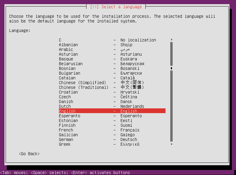 Select your language again for Ubuntu Server 12.04 installation