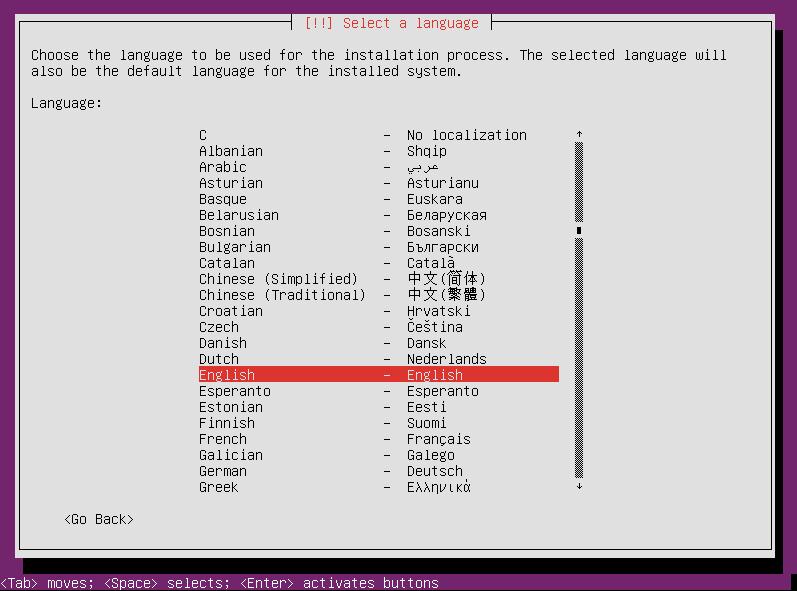 Select your language again for Ubuntu Server 12.04 installation