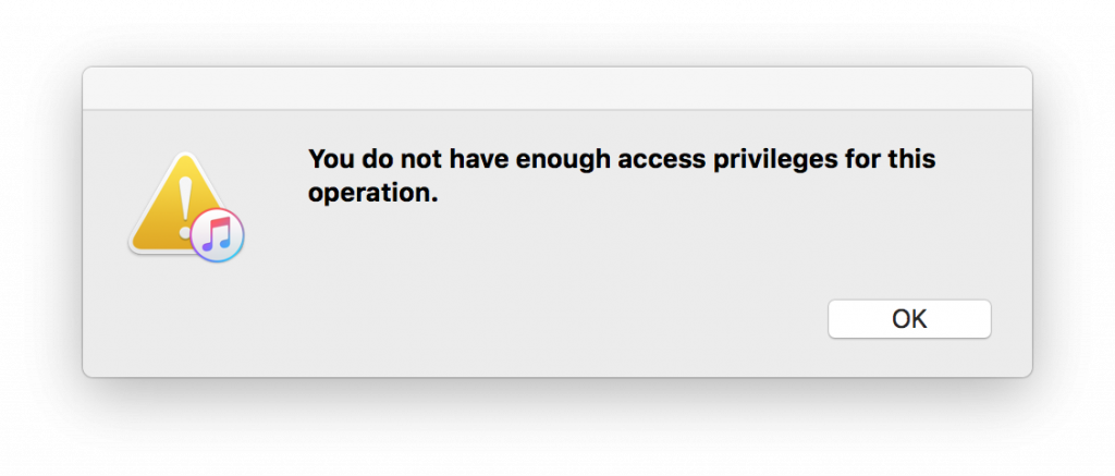 You do not have enough access privileges for this operation